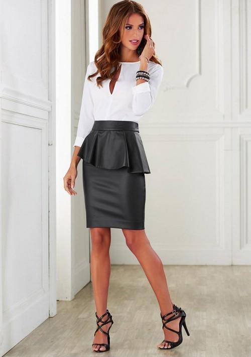 Кожаная юбка и блузка фото